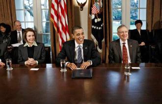 President Obama with leading Democrats Nancy Pelosi and Harry Reid