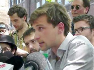 Gabriel Nadeau-Dubois speaks to reporters after a meeting with government officials during the strike