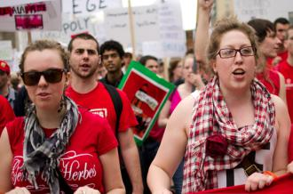 Students fill the streets protesting tuition hikes in March
