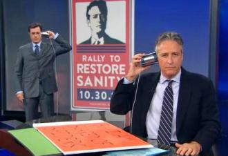 Jon Stewart and Stephen Colbert announce their competing rallies