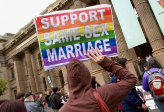 Marching in support of marriage equality