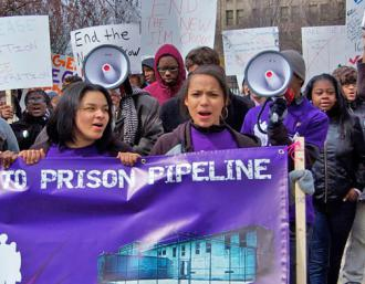 Hundreds of Detroit high school students and their supporters rallied against the school-to-prison pipeline (SW)