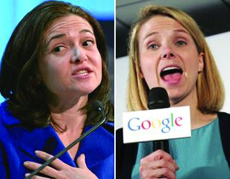 Sheryl Sandberg (left) and Marissa Mayers