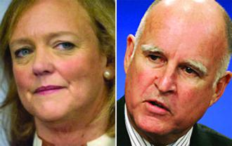 Candidates for California Governor Meg Whitman and Jerry Brown