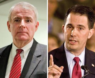 Contenders in Wisconsin&#039;s recall election: Democrat Tom Barrett (left) and Republican Gov. Scott Walker