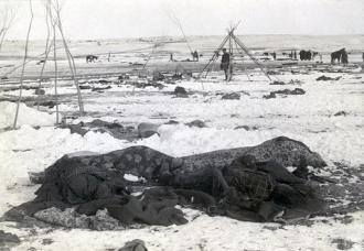 Bodies piled in the snow following the massacre at Wounded Knee