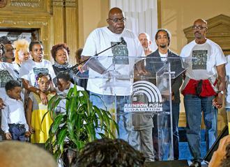 Coalition to Revitalize Dyett spokesperson Jitu Brown speaks at Operation PUSH (Bob Simpson)