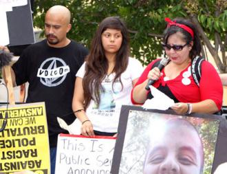 Donna Acevedo speaking out alongside other family members of victims of police brutality (Greg Silva)