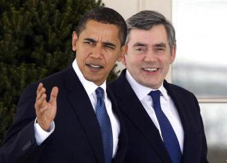 Barack Obama with British Prime Minister Gordon Brown