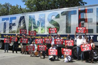 California Teamsters campaign against the union-busting Proposition 32