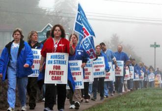 Nurses walk the picket line during their one-day strike against Baystate Franklin Medical Center