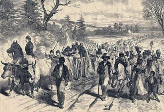 An illustration depicting former slaves reaching the lines of the Union Army in the South
