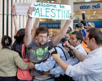 Police arrest activists at Ben Gurion Airport as they attempt to greet participants in Welcome to Palestine