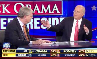 Karl Rove on Fox News as the election is called for Barack Obama