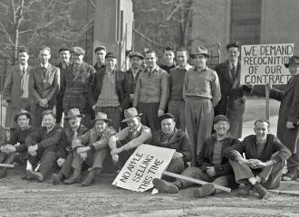 Autoworkers during the 1945-46 strike against General Motors at the 36th Street plant in Wyoming, Mich.