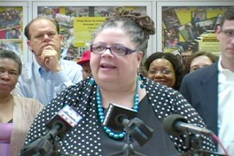 Karen Lewis, president-elect of the Chicago Teachers Union, speaks after the CORE victory was announced (Labor Beat)