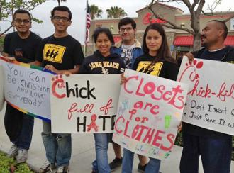Opponents of anti-LGBT bigotry protested at Chick-Fil-A restaurants (GLADD)