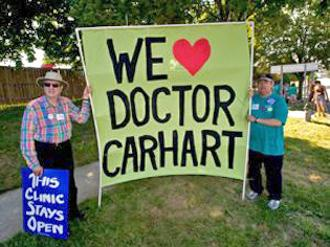 Supporters rally to support Dr. Carhart at a Germantown, Md., clinic
