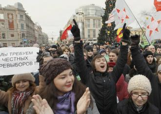 Protesters massed in Russian cities to protest election fraud and call on Putin to resign