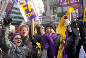 Members of SEIU Local 32BJ celebrate a tentative agreement (SEIU.org)