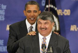 Barack Obama appears at an AFL-CIO event alongside federation President Richard Trumka