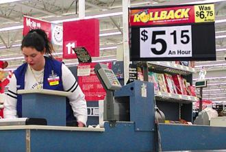 Wal-Mart employees often receive low pay and no health benefits