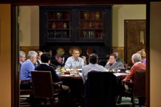 Barack Obama speaks at a summit of G8 leaders held at Camp David (Pete Souza)