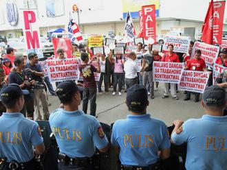 Members of PALEA on the march in Manila in October