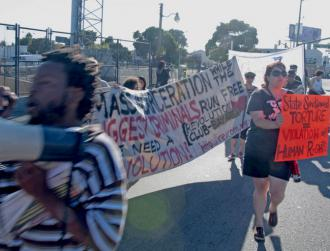 Supporters march in solidarity with prisoners on hunger strike across California