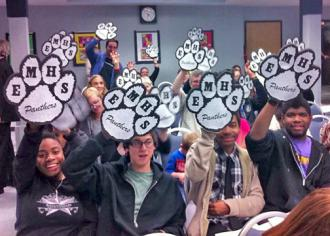 Eastside Memorial High School students at an AISD board meeting (Amanda Austin)