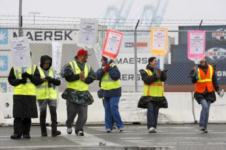 ILWU members on the picket line in Long Beach on the first day of their walkout