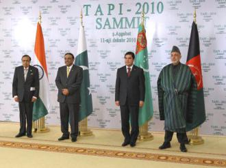 Leaders of Turkmenistan, Afghanistan, Pakistan and India meeting to discuss the TAPI pipeline