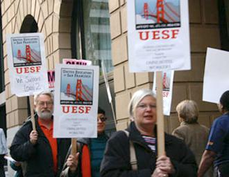 Members of United Educators of San Francisco at a solidarity picket