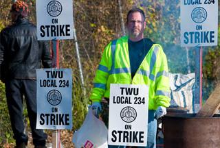 TWU strikers on the picket line