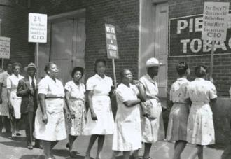 Tobacco Workers on strike near Winston-Salem in 1946