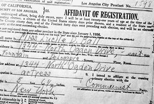 Lucille Ball's voter registration card