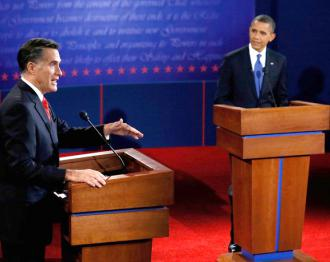 Mitt Romney and Barack Obama share the stage at their first debate