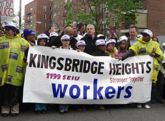 Marching in support of SEIU1199 members on strike at the Kingsbridge Heights Nursing Home (Yusef Khalil | SW)