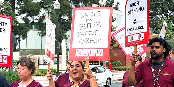 Members of the National Union of Healthcare Workers rally for safe staffing and better conditions