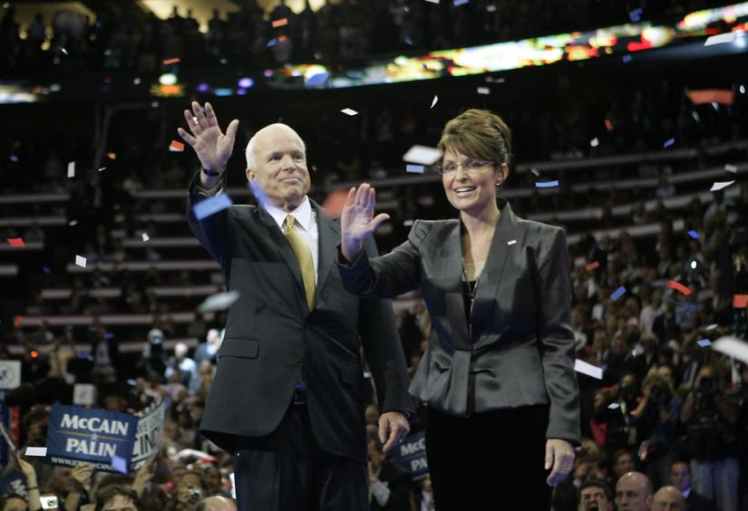 Running mate Sarah Palin joins John McCain onstage at the Republican convention