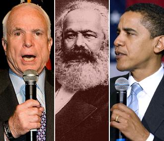 John McCain, Karl Marx and Barack Obama