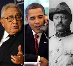 Nobel Peace Prize winners Henry Kissinger, Barack Obama and Theodore Roosevelt
