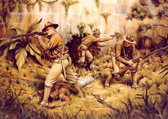 Illustration of the capture of Fort Riviere by U.S. Marines