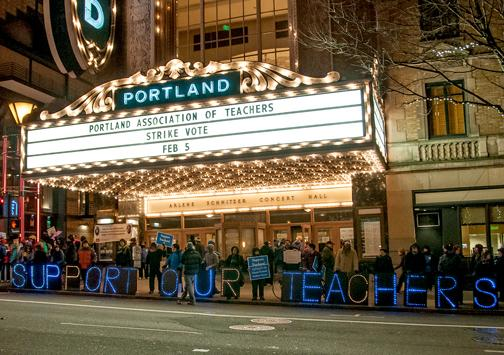 Outside the theater where Portland teachers voted nearly unanimously to authorize a strike