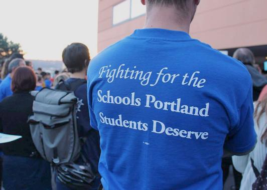 Portland teachers demonstrate during their campaign for a just contract
