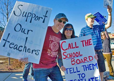 Medford teachers join with parents on the picket lines