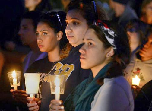 A vigil in Isla Vista for the mass shootings victims