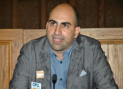 Steven Salaita speaks at a press conference held in Urbana