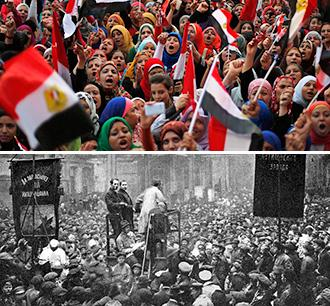 Images from the Egyptian Revolution (above) and Russian Revolution