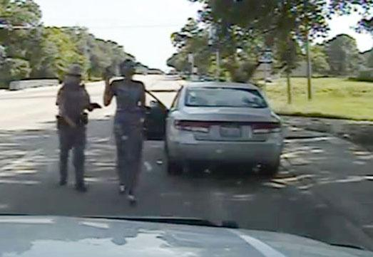 The police dash cam view of the arrest of Sandra Bland